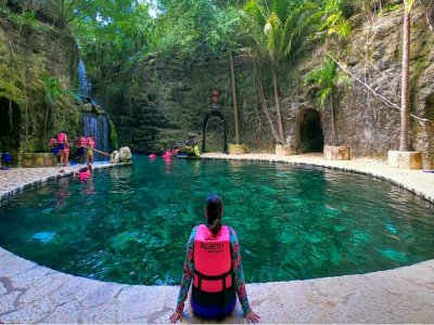 Entrance to Xcaret and catamaran to Isla Mujeres children