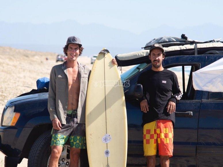 Camino a surfear en  San José del Cabo
