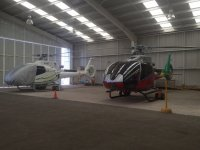The helicopter garage