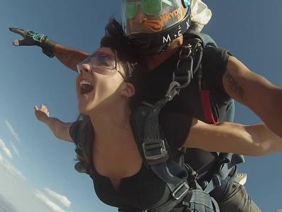 Parachute jump in Ojos Negros at 11,500 feet