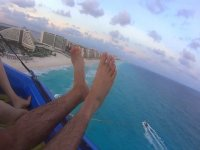 View of the Mexican Caribbean from parachute