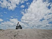 Driving a motorcycle on the beach