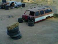 Hide behind the tires