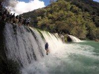 Jumping in waterfalls