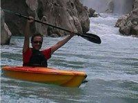 Rowing between waterfalls