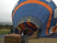 Preparing the balloon for the flight