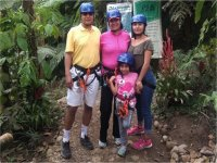 family doing zip line in Cuetzalan