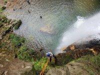 Rappel waterfall in Cuetzalan