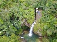 zip line in Cuetzalan waterfalls