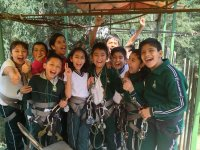 The kids before crossing the canopy