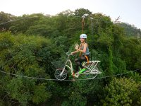 Exciting zip line by bike