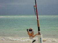 A pescar en la playa