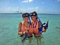 snorkeling on the beach