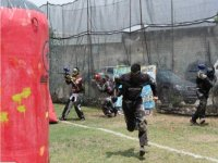 Paintball battle in action