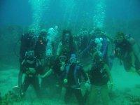 Grupo de buceo en cursos