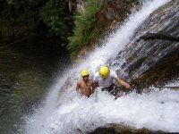 rappelling in the canyon