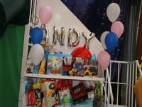 Birthday table and birthday balloons