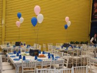 Party room with decorative helium balloons