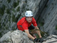 Arriving at the top of the ferrata