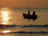 Pesca en las tranquilidades del mar