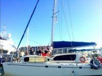 Saludando desde el barco en Puerto Vallarta