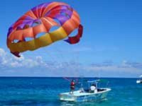 Boat with parasail