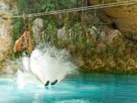 to the water with zip lines