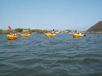 Rowing a kayak