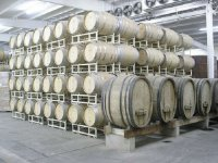 Barrels in the wineries of the Valle de Guadalupe