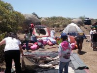 assembling tents