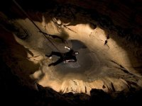 rappelling in caves