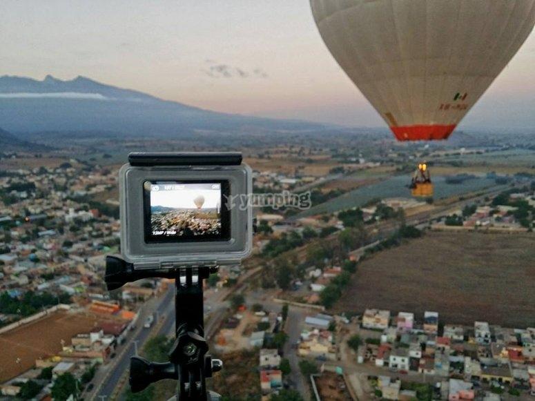 Graba la experiencia de volar en globo