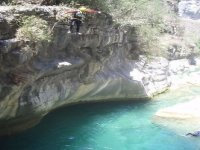 Jumping in canyoning